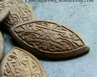 Vintage Brass Stamping, Vintage Finding, Rare Stamping, Solid Brass, Patina, Art Nouveau, Art Deco, Navette, Stamping, Metal Cabochon, 4