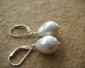 Leverback White Flameball Earrings, White freshwater pearls, Natural Color, High Luster with Tails, Flameball, Born Again Keishi