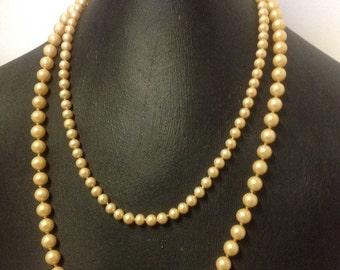 Vintage Faux Pearls Lot Lustrous Old 2 Necklaces
