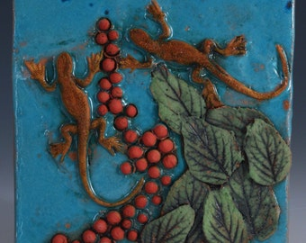Decorative Ceramic Tile  2 lizards seeds and leaves by the Pond Wall Tile