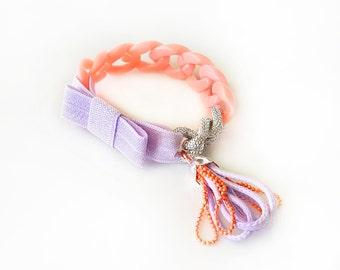 Funky Chunky Chain Bracelet - acrylic chain, aluminum chain, elastic ribbon bow, tiny handmade tassel - salmon and lavender