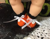 Halloween Black Orange Crochet Booties Ginnette Dolls 1 inch Handmade USA