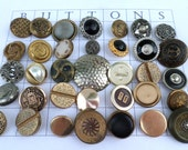 35 SILVER and GOLD Metal VINTAGE Buttons Shank Buttons Old Metal Buttons