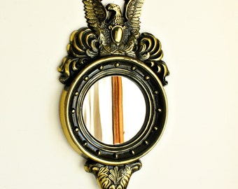 Vintage Federal Eagle wall Mirror - round brushed gold black eagle mirror - cast metal