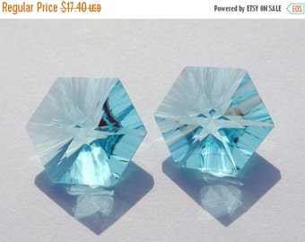 55% OFF SALE 2Pcs / 1 Match Pair 15mm AAA Aqua Quartz Concave Cut Hexagonal Briolette Concave Cut Gems (Choose The Drill Hole)
