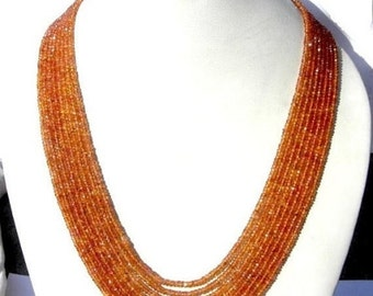 """55% OFF SALE Natural Songea Sapphire Multi Strand Necklace - 8 Strnads Finest Quality Songea Sapphire Micro Faceted Rondelle Beads 17-19"""""""