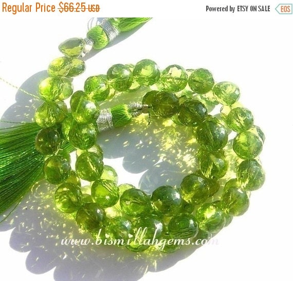 55% OFF SALE 1/2 Strand - Finest Quality Genuine Peridot Micro Faceted Onion Briolette Size 5-6mm approx (25 briolettes)
