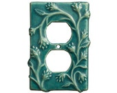 Ceramic Duplex Outlet Cover-Vine design in seafoam glaze