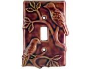 Birds Ceramic Single Toggle Light Switch Cover in Amber Rose Glaze