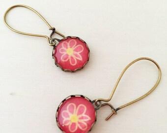 Pink Flower Antique Brass Glass Earrings