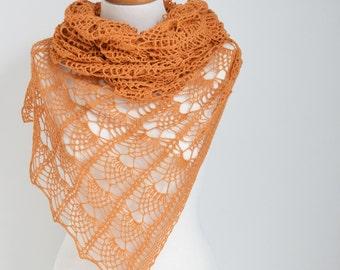 Lace knitted shawl, Burnt Orange, Pumpkin Orange, N398
