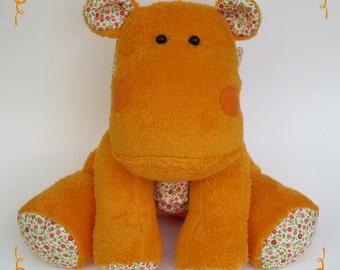soft handmade plush hippo