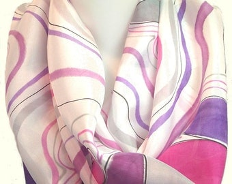 Hand Painted Silk Habotai Scarf, Grey, Pink, Violet and Plum on White, Wavy Geometric Design, 15 x 72""