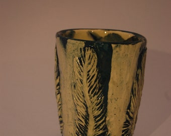 Teal Feather Stroke Tea Cup