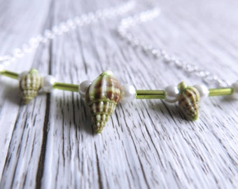 Sea Shell Necklace Green Necklace Mermaid Pearls Seaweed Green