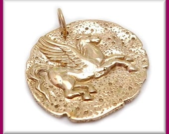 1 Natural Bronze Pegasus Charm - Replica Coin 24mm - Winged Horse Charm ND25