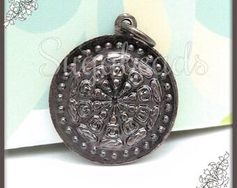 1 Bronze Buddhist Wheel Amulet - Dharma Wheel Pendant 28mm