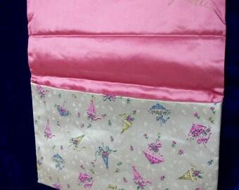 Vintage Schiaparelli Stocking Lingerie Bag . Umbrella Print with Shocking Pink Lining  . Nylons or Hankie Holder