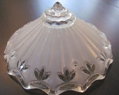 Retro Vintage Glass Ceiling Light Fixture - Clear and Frosted 3 Chain Hanging Shade