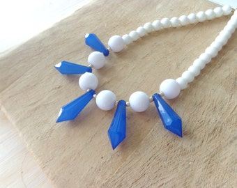 Blue white chunky necklace statement style
