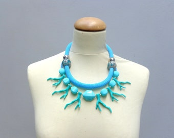 Turquoise Statement necklace, multi strand necklace coral branch necklace