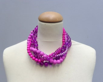 Purple pink Pearl chunky Statement necklace, multi strand necklace, wedding jewelry