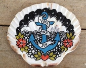 You Are My Anchor, Illustrated Scallop Seashell, Hand Painted, Nautical Art, Valentines Gift, Anniversary Gift