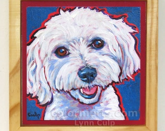 MALTESE Dog Portrait Framed Original Art Painting on Panel 6x6 by Lynn Culp