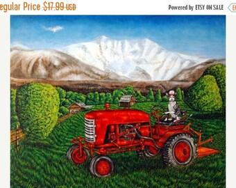 Devon rex Cat on the Farm Riding a Tractor Animal Art Print
