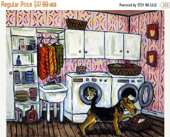 10% off SALE Airedale Terrier Doing the Laundry  Dog Art Print