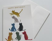 Gold kitty greeting card
