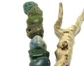 Genuine Drilled Beach Stone Jewelry Pendants Charms Set Sea Glass Bead Slag Rocks diy Rare Finds Chunky Drops BLUE OYSTER