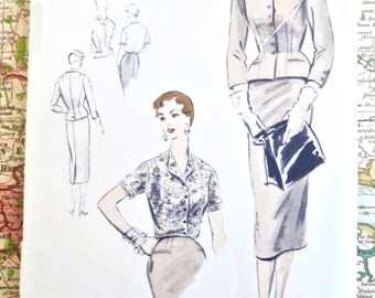 Vintage 1950s Womens Two Piece Suit and Blouse Pattern - Vogue S-4477
