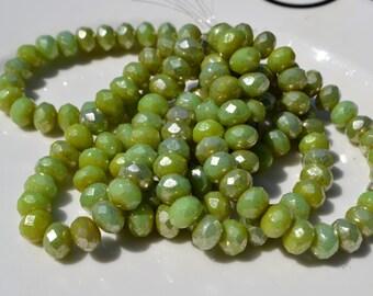 Honeydew Green with Mercury Silver 8x6mm czech Glass Rondelle Beads 25