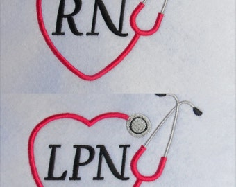 Stethoscope LPN & RN Embroidery Designs -3 Sizes  - Custom Requests Welcome
