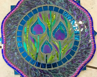 """10"""" Purple Peacock Floral Stained Glass 10"""" Mosaic Wall Hanging.."""