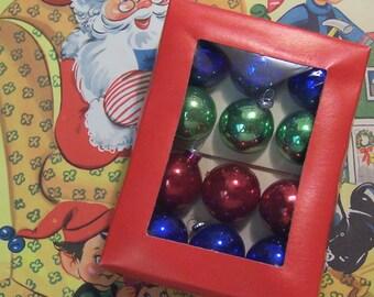one dozen small glass tree ornaments