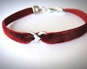 Velvet choker Sterling Heart bracelet Red Velvet bracelet heart bracelet red bracelet friendship anniversary graduation valentines