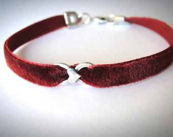 Velvet choker Sterling Heart bracelet Red Velvet bracelet heart bracelet red bracelet friendship anniversary graduation