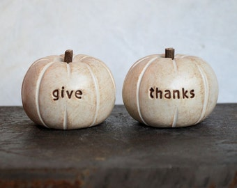 Thanksgiving decor... vintage white give thanks pumpkins...nice present....cute handmade clay gift