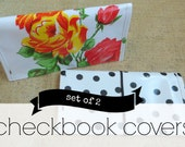 checkbook covers SET OF 2  // two oilcloth checkbook cover personal finance organization / gold chevron floral dot stripe