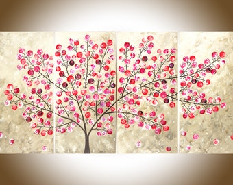 "Red leaves tree Contemporary wall art Colorful art Large canvas art wall Decor shabby chic original artwork ""Flying Blossoms""by qiqigallery"