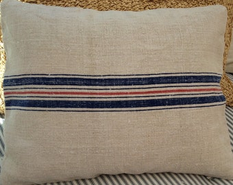ViNTaGE Grainsack Down Pillow/BluE Red StriPE/Decorative PiLLoW/ French CottaGe/SHaBBy CHiC/Throw Beach Pillow