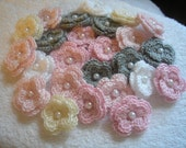 Crochet Double Layered Flowers Bulk set of 25 in Pink, Cream, Gray and White