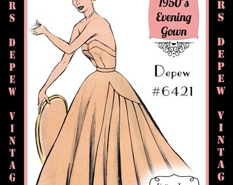 Vintage Sewing Pattern 1950's Ladies' Strapless Evening Gown in Any Size - PLUS Size Included - Depew 6421-INSTANT DOWNLOAD-