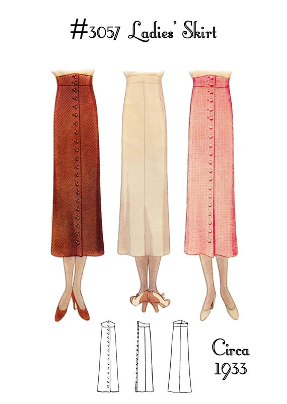 1930s Sewing Patterns- Dresses, Pants, Tops 1930s Skirt #3057 - INSTANT DOWNLOAD $8.50 AT vintagedancer.com
