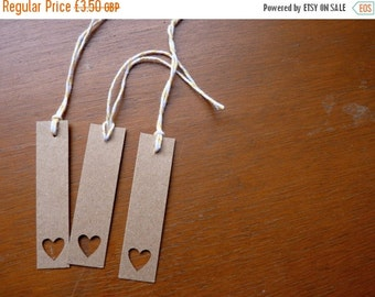 SUMMER SALE Brown heart bookmarks or gift tags, set of 3