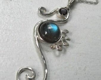 Labradorite Seahorse Necklace with Smoky Quartz - Sea Horse Pendant - Genuine Labradorite and Quartz - Ocean Inspired Sea Life