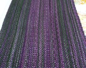 violets & greens: handwoven hand-painted tencel scarf
