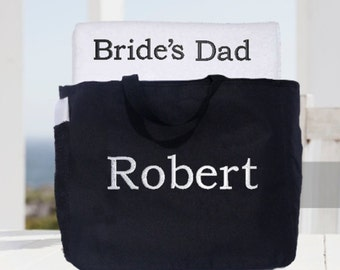 Wedding Party Towel and Tote Gift Set!  Groom's Dad, Bride's Dad, Father of the Bride, Father of the Groom Towel and Tote Set!